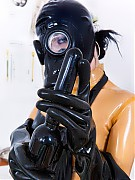 Rubber clinic patient preparing for a walk