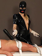 The poor defenceless patient in his miserable situation is pumped out of his sperm by the sadistic mistress, whether he wants it or not. As a special
