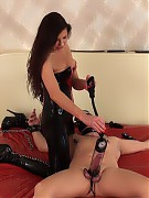 Lucia Exentric sexy CBT on the rubber bed