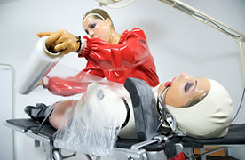 Wrapped on plastic in rubber clinic