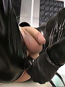 After 6 Weeks in Chastity my Patient balls are so big that he cannot go (walk) any more. As I heard from the Emergency central that he will come I ordered my other Slave that, for safety reasons, he should bring him to my milking room on a wheelchair. And today I will have mercy on him and his big ball, but first he must stand my sadistic treatment without shooting his load, otherwise he get 3 extra months locked up again in chastity.