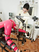 Pink latex catsuit patient bondage, machine fucking, urine drinking in rubber psychiatry